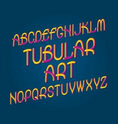 Tubular art typeface gradient plastic font vector