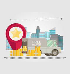 unloading or loading trucks shipping cargo vector image