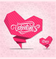 valentines day two pink heart pink background vect vector image
