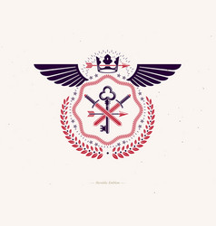 Vintage heraldry design template with bird wings vector