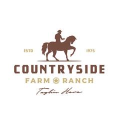 vintage retro cowboy riding horse silhouette logo vector image