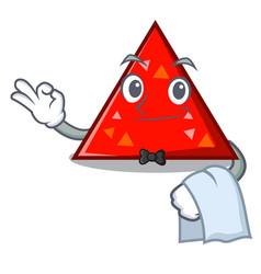 Waiter triangel mascot cartoon style vector