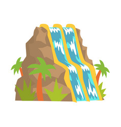 waterfall water slides aquapark equipment cartoon vector image