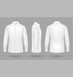 White blank male shirt with long sleeves in front vector