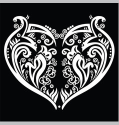 White heart made out of swirls tattoo inspired vector
