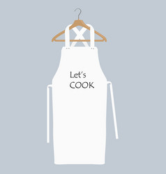 White kitchen apron on hanger chef uniform for vector