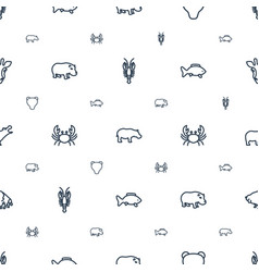 Wildlife icons pattern seamless white background vector