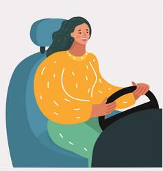woman driving at night vector image