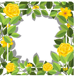 yellow flower blank card template vector image