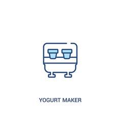 Yogurt maker concept 2 colored icon simple line vector