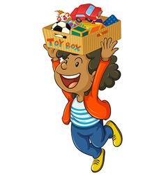 Boy holding box of toys on his head vector image vector image