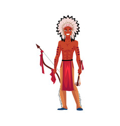 native american indian man in feather headdress vector image vector image
