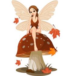 Autumn Fairy on the Mushroom vector image vector image