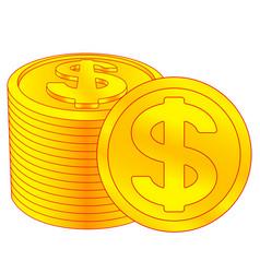 dollar coins icon vector image vector image