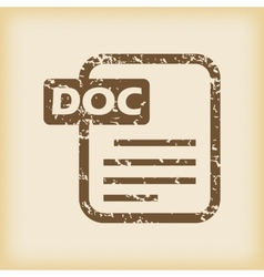 Grungy doc file icon vector image vector image