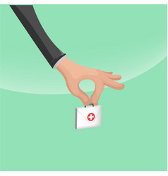hand hold hospital small bag vector image