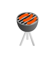 Sausages grilling over the coals on a barbecue vector image