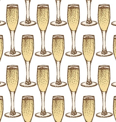 Sketch champagne glass in vintage style vector image vector image