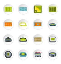 sport stadium icons set flat style vector image vector image