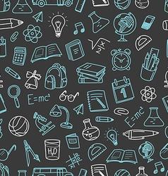 Back to school chalk doodles black seamless vector image