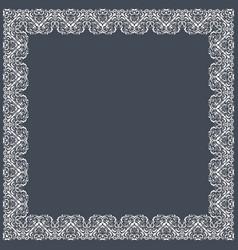 fine floral square frame decorative element for vector image vector image