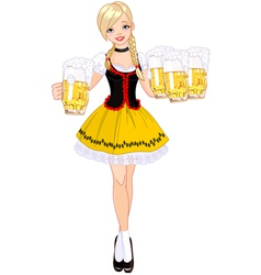 German girl serving beer vector image