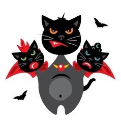 Halloween Three-headed Dragon cat Cartoon vector image
