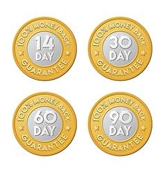 Money back guarantee label coins vector