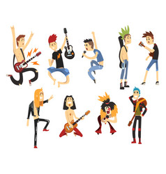 cartoon rock artists characters singing and vector image
