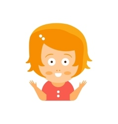 Little red head girl in red dress excited smiling vector