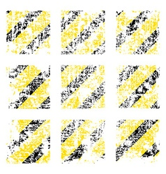 Nine old worn tattered scratch squares of yellow vector image vector image