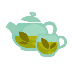 transparent tea cup and pot vector image vector image
