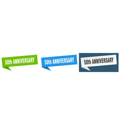 50th anniversary banner sign 50th anniversary vector