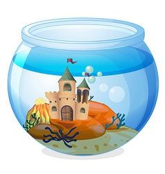A castle inside the aquarium vector
