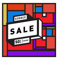 Abstract colorful geometric summer sale vector