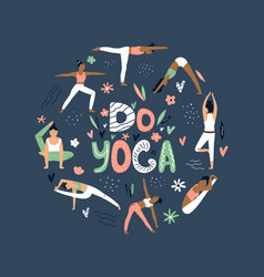 abstract design with yoga girls in asanas vector image