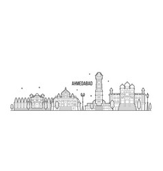 Ahmedabad skyline gujarati india city line vector