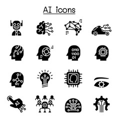 Ai artificial intelligence icon set vector