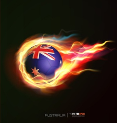 Australia flag with flying soccer ball on fire vector