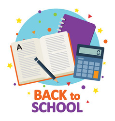 back to school book with school notebook and vector image