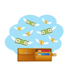 banknotes and coins with wings flying away from vector image