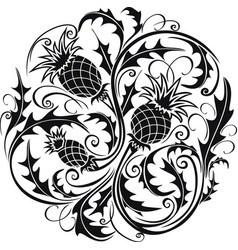 black and white stylized image of a thistle vector image