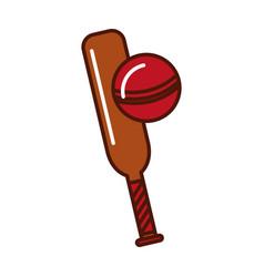 brightly cricket ball and bat cartoon vector image