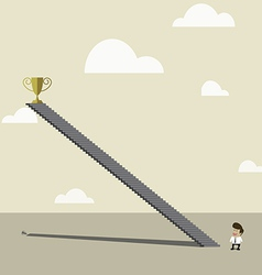 Businessman looking to high up golden trophy vector image