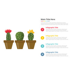 cactus infographics template with 4 points of vector image