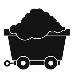 Cart on wheels with coal icon simple style vector