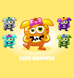 cartoon cute baby monster in different vector image