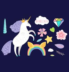 cartoon unicorn and collection accessorises vector image