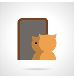 Cat and mirror flat icon vector