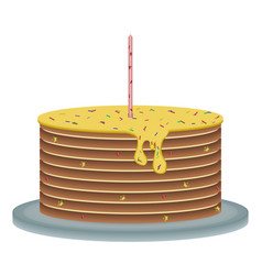 celebratory cake with a candle vector image